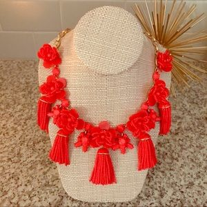 J Crew Honeymoon Tassel Necklace in Red